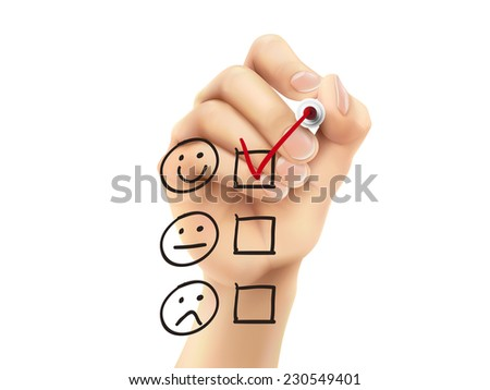 customer service questionnaire drawn by hand on a transparent board - stock photo