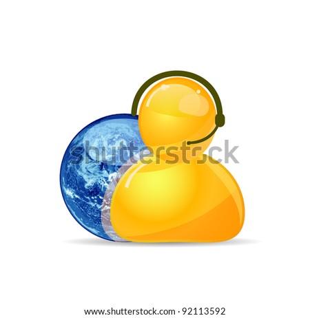 Customer Service Representative and Globe - stock photo
