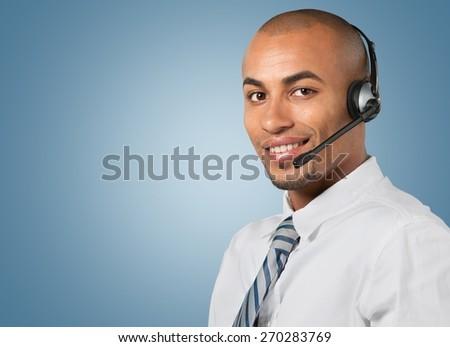 Customer Service Representative, Call Center, On The Phone. - stock photo