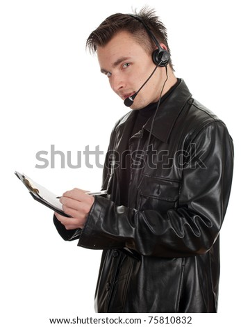 customer service representative man in headset and leather jacket with clipboard - stock photo