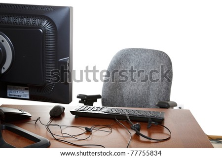 Customer service representative's desk, with headset & computer