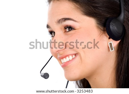 customer service representative smiling isolated over a white background
