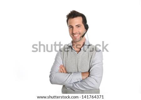 Customer service representative talking on phone - stock photo