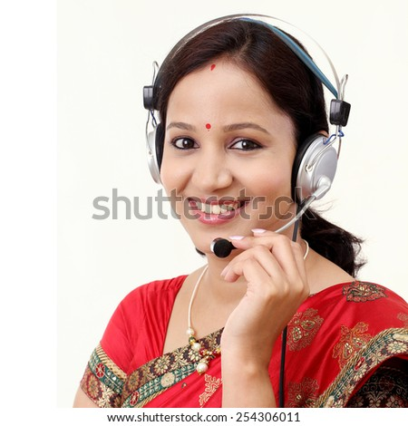 Customer service representative with headset - stock photo
