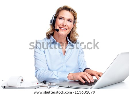 Customer service representative woman working with headsets.
