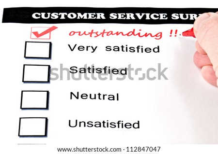 Customer Service Survey Form Extra Checkbox Stock Photo 112847047