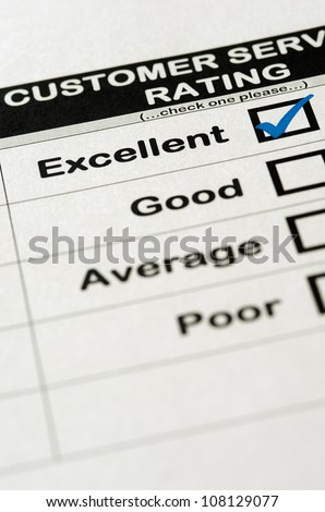 Customer Service Survey With Excellent Rating Chosen