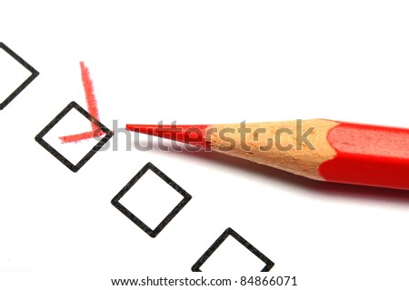 customer service survey with red pencil and checkbox showing satisfaction concept - stock photo