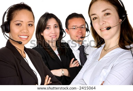 customer service team led by a caucasian business woman over a white background