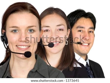 customer service team over white - stock photo