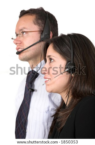 customer service team over white - focus on eyes of lady - stock photo