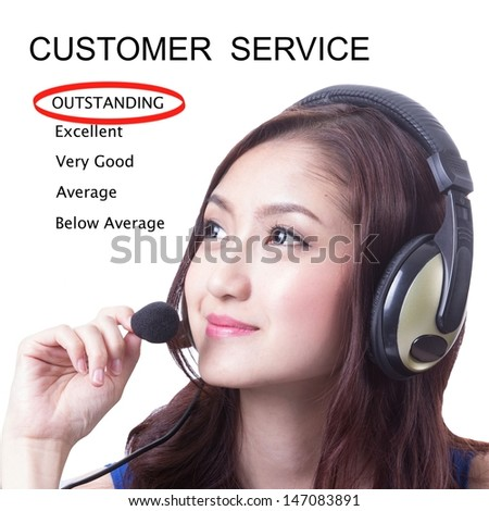 Customer service ,we are good service and outstanding for you - stock photo