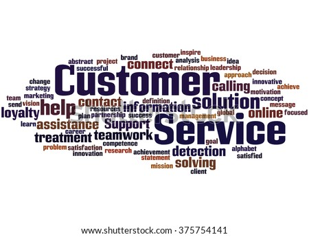 Customer Service, word cloud concept on white background.
