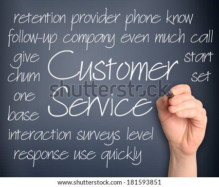Customer Service word cloud handwritten on pale blue background