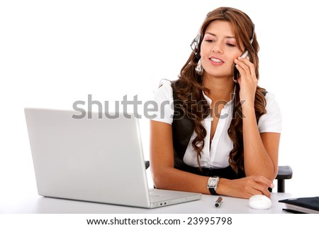 customer services woman on a laptop computer - smiling isolated over a white background - stock photo