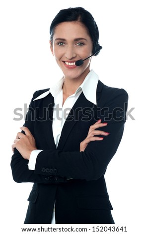 Customer support executive posing confidently