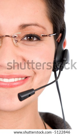 customer support girl over a white background - stock photo