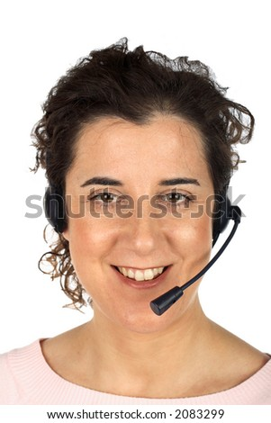 Customer support girl over white background