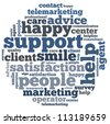 customer support info-text graphics and arrangement concept on white background (word cloud) - stock photo