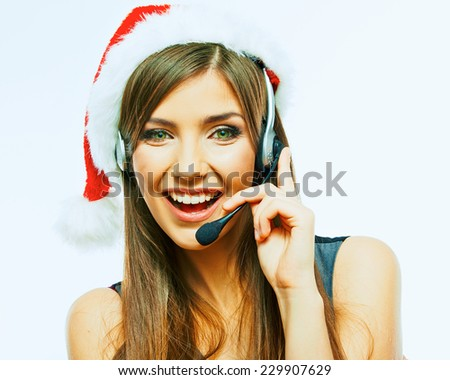 Customer support operator close up portrait. call center smiling operator Christmas Santa girl look. - stock photo