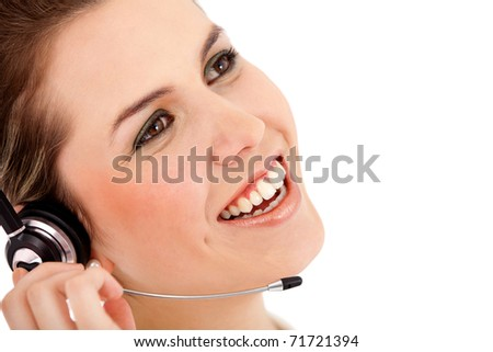 Customer support operator - isolated over a white background - stock photo