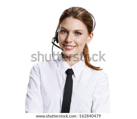 Customer support operator / portrait of young attractive brunette girl with headset - isolated on white background  - stock photo