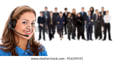 Customer support operator team isolated on white - stock photo