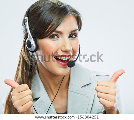 Customer support operator thumb show.  call center smiling operator with phone headset. - stock photo