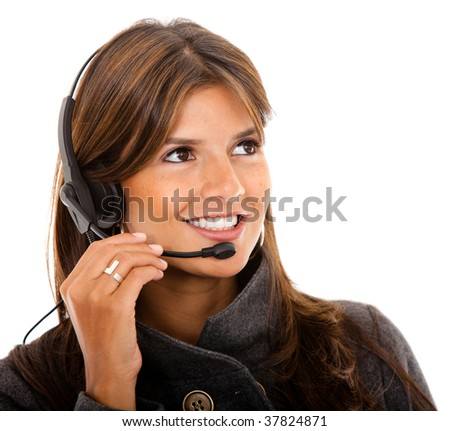 Customer support operator woman smiling - isolated - stock photo