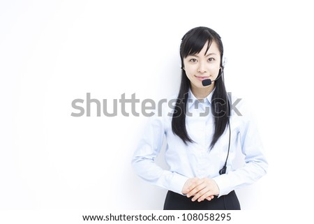 customer support operator woman with headset - stock photo