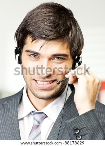 customer support phone operator in headset at office - stock photo