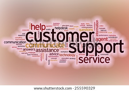Customer support word cloud concept with abstract background - stock photo