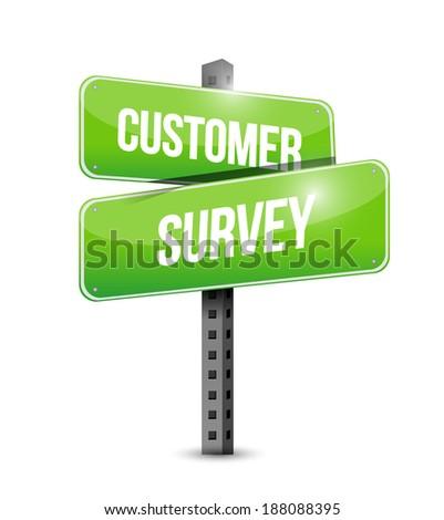 customer survey sign illustration design over a white background - stock photo