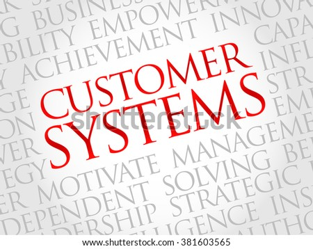 Customer Systems word cloud, business concept - stock photo