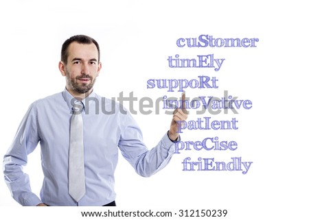 cuStomer timEly suppoRt innoVative patIent preCise friEndly SERVICE - Young businessman with small beard pointing up in blue shirt
