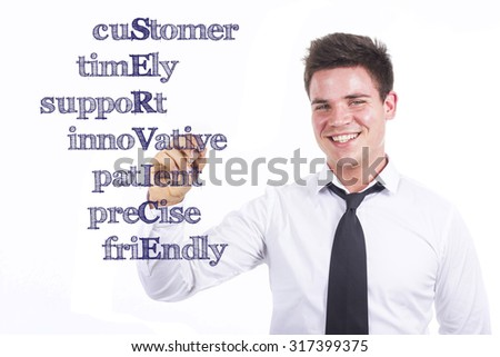 cuStomer timEly suppoRt innoVative patIent preCise friEndly SERVICE - Young smiling businessman writing on transparent surface