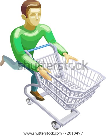 customer with a basket - stock photo