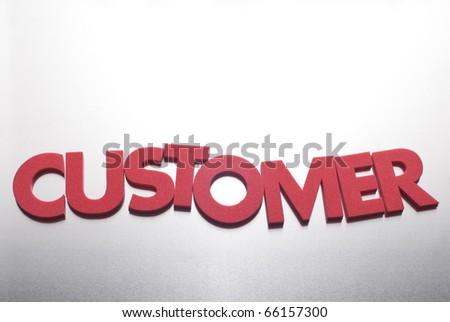 customer word on metal background, part of a series of business words