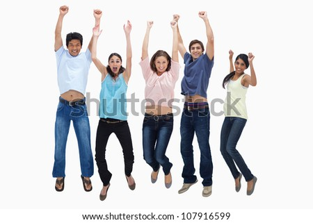 Customers jumping for joy against white background - stock photo