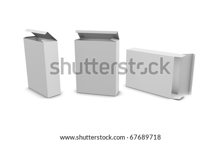 customizable blank paper box, isolated on white background. - stock photo