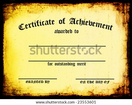 Customizable Certificate of Achievement - stock photo