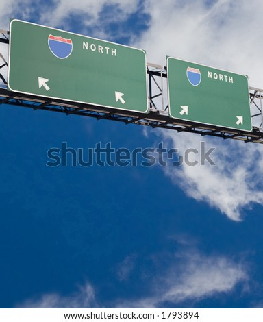 Customizable freeway sign giving two choices version 2 - stock photo