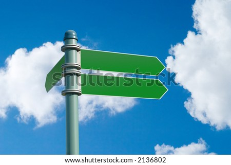 Customizable green street sign on a blue cloudy sky (with clipping path)