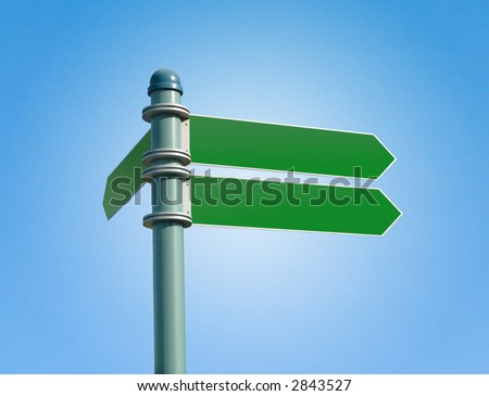 Customizable green street sign on a clear blue sky