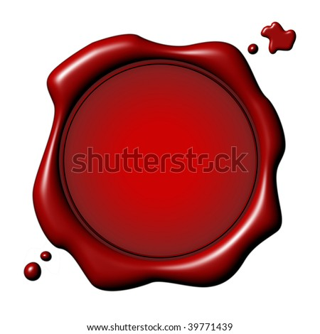 Customizable red seal with drops over white background - stock photo