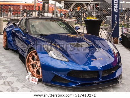 Customized Chevrolet Corvette car at the Specialty Equipment Market Association (SEMA) 50th Anniversary auto trade show. Builder: Ivan Tampi Customs Booth: Tri-Ace Tires