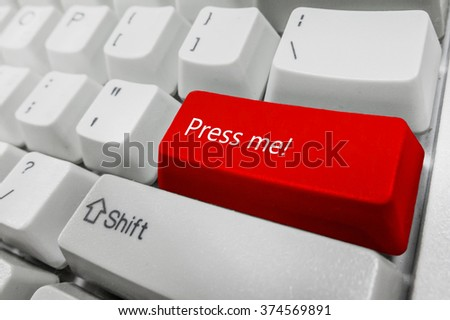Customized concept with computer enter button on keyboard : Press me - stock photo