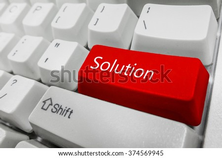 Customized concept with computer enter button on keyboard : Solution - stock photo
