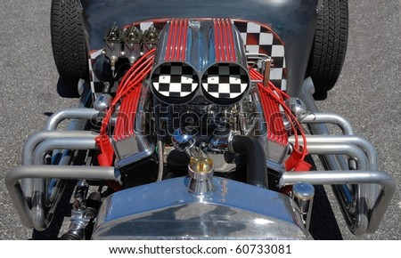 customized hot rod engine - stock photo