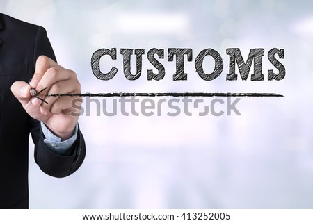 CUSTOMS Businessman drawing Landing Page on blurred abstract background - stock photo